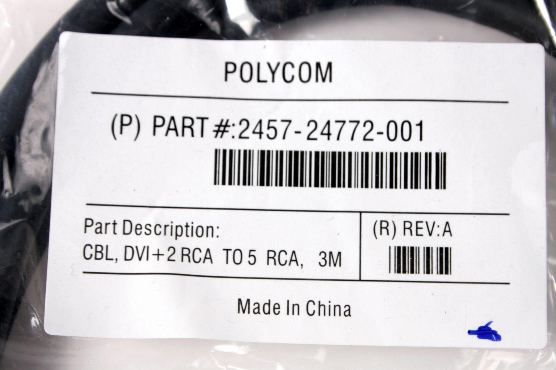 NEW Polycom Cable Camera 2457-24772-001 CBL DVI+2 RCA to 5 RCA Video HDX Powercam 9'