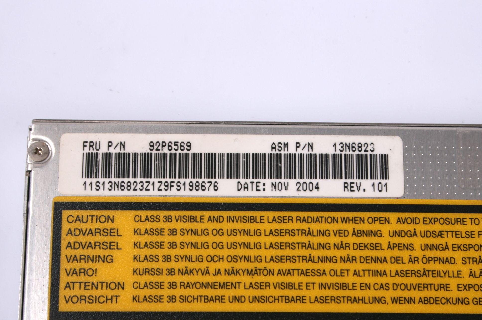 IBM Thinkpad R50e R40 R51 T42 T43 CDRW DVD 92P6563 92P6569 13N6823 13N6824 13N6825 08K9868