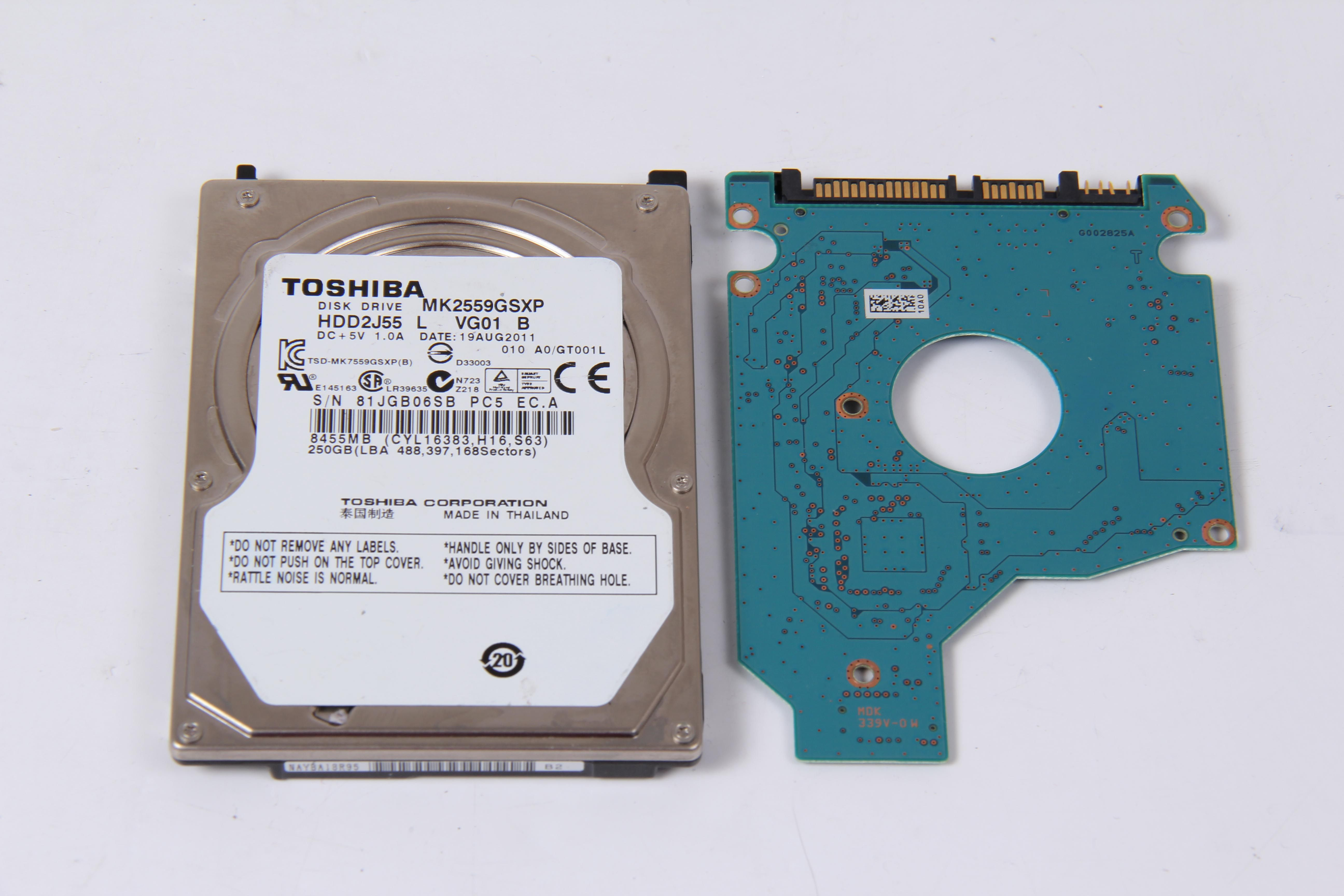TOSHIBA MK2559GSXP 250GB SATA 2,5 HARD DRIVE / PCB (CIRCUIT BOARD) ONLY FOR DATA