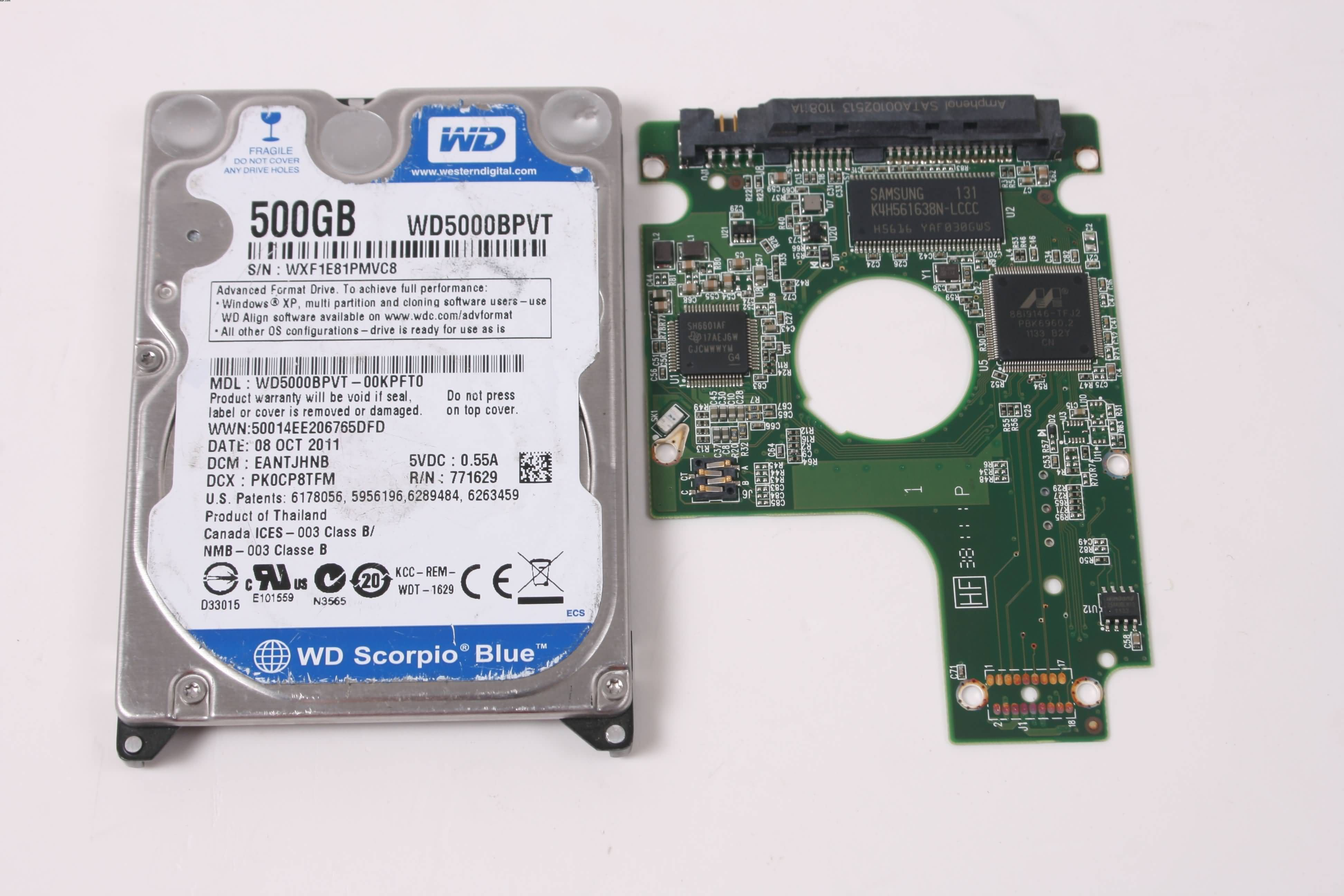 WD WD5000BPVT-00KPFT0 500GB 2,5 SATA HARD DRIVE / PCB (CIRCUIT BOARD) ONLY FOR DATA