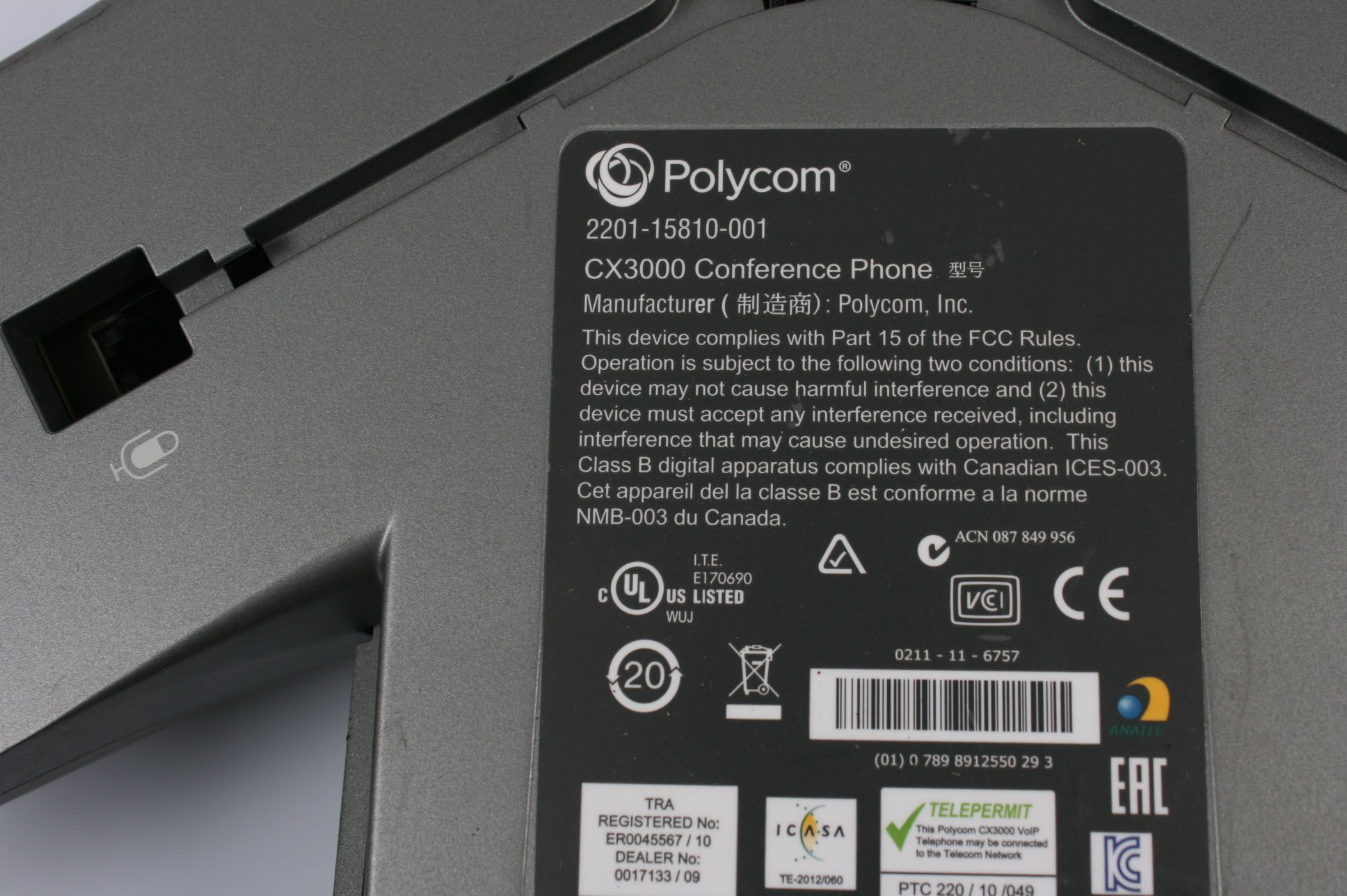 Polycom CX3000 IP Conference VoIP Phone 2201-15810-001