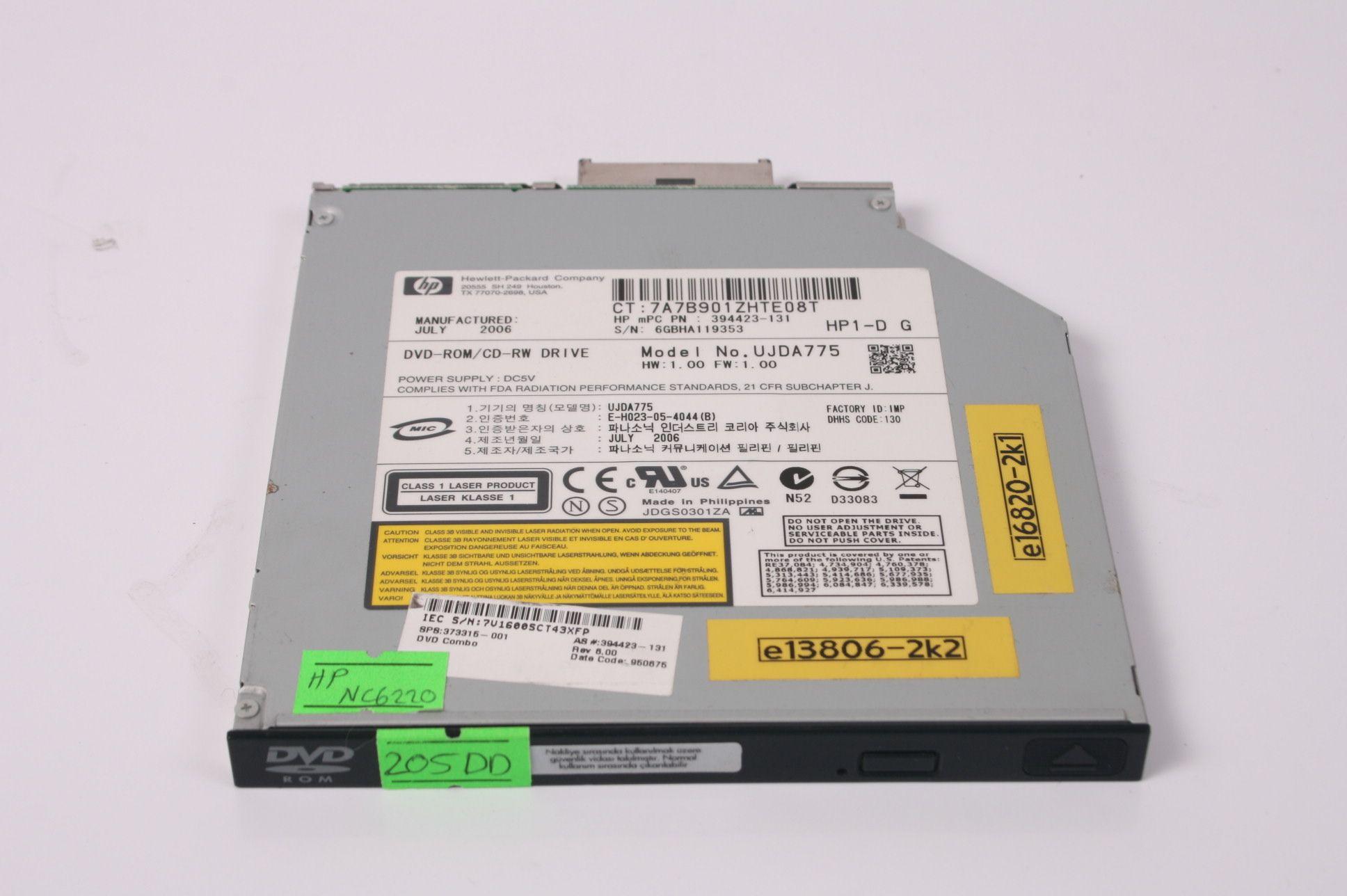HP 6910P NC6200 NC6100 NX6100 NX6130 NX8200 CDRW/DVDROM 373315-001 TX 77070-2698