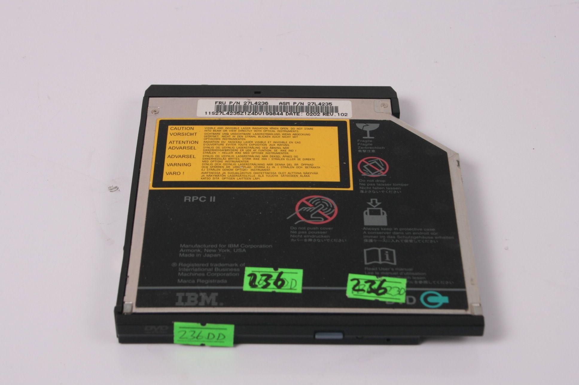 IBM ThinkPad T30 R30 A22 A31 DVD Drive 27L4355 27L4236 08K9648 27L3447