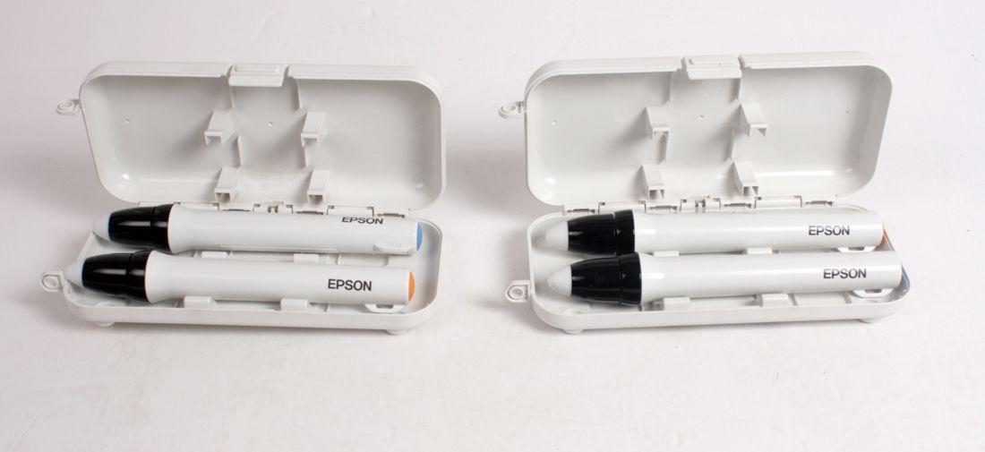 LOT OF 4 EPSON Interactive Pen Orange & Blue /W Box ELPPN03A