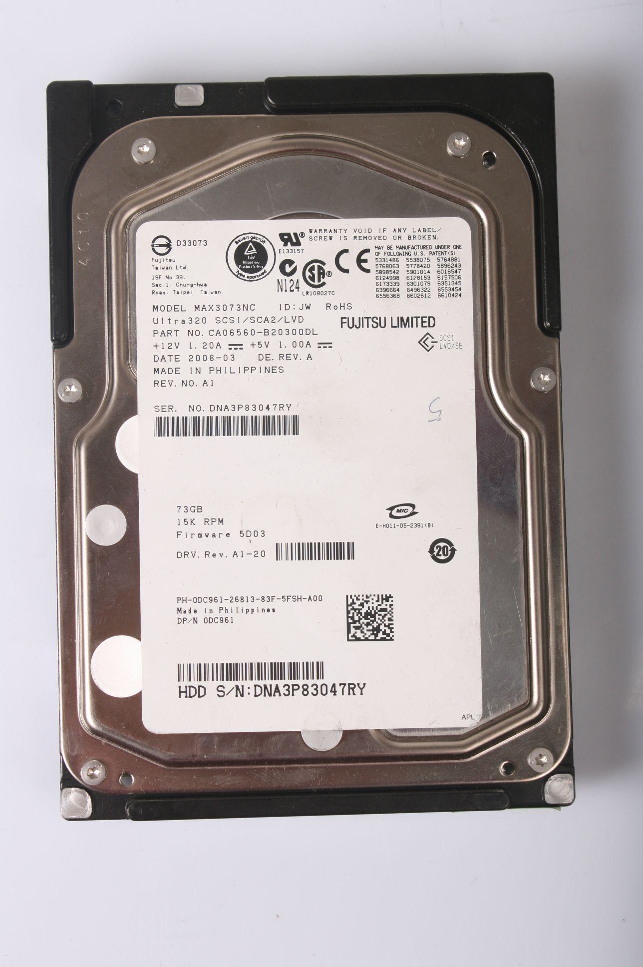 FUJITSU 73.4GB 15K SCSI 3,5 80 Pin Server Hard Drive MAX3073NC CA06560-B20300DL