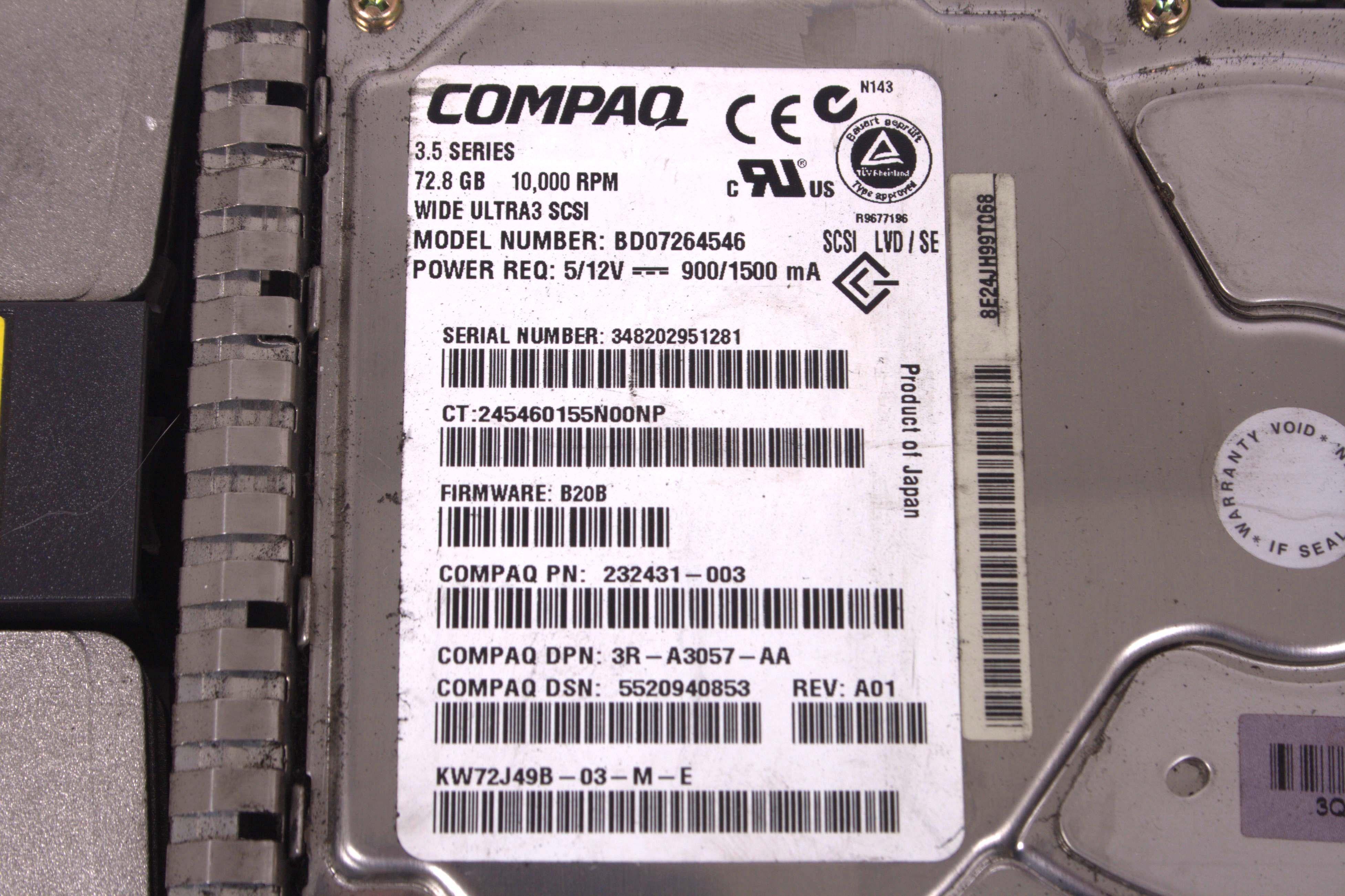 HP Compaq 72.8GB 10K U3 SCSI 80pin Hard Drive 232431-003 BD07264546