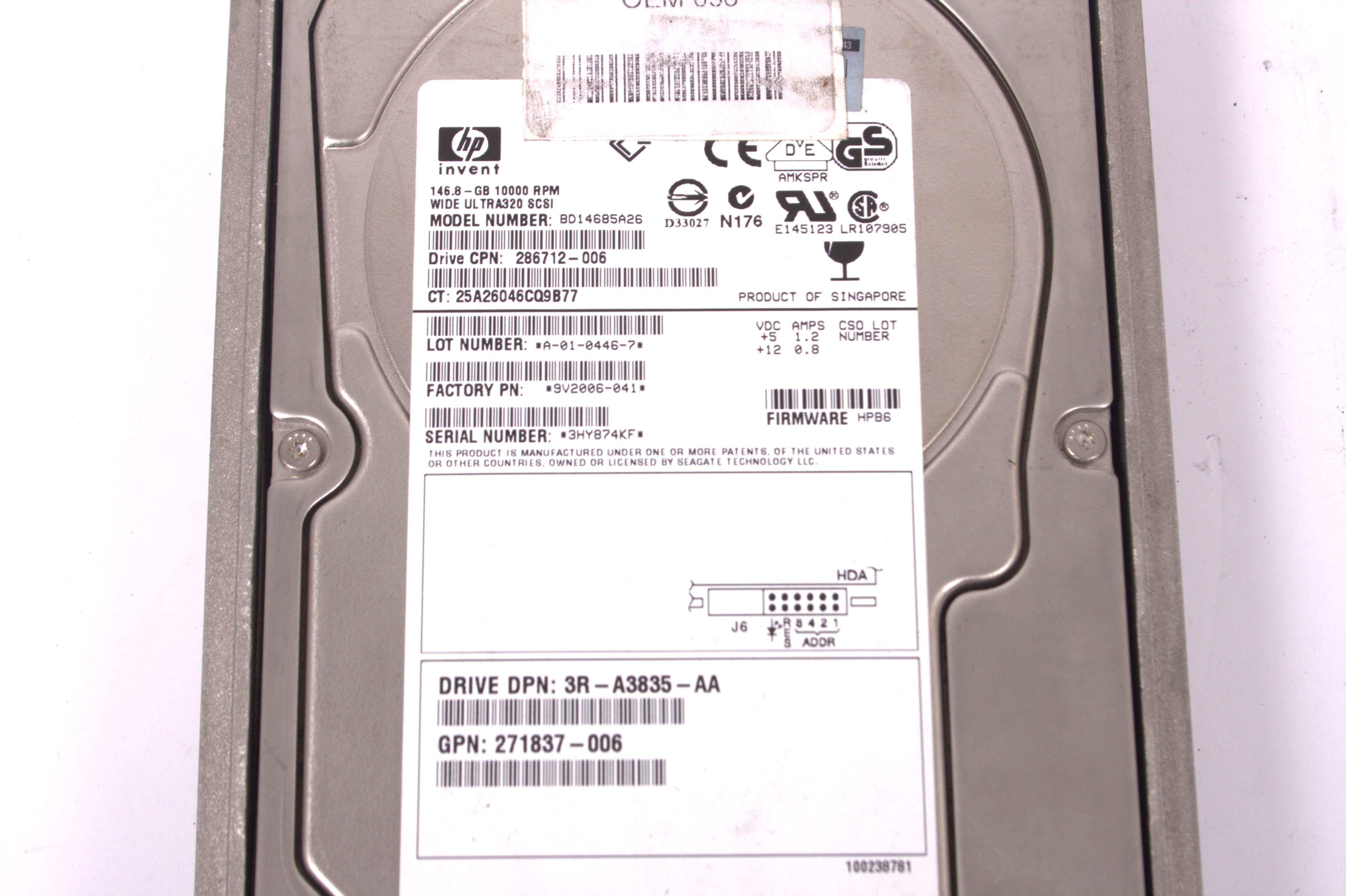 HP 146.8GB 10K U320 SCSI 80pin Hard Drive 286712-006 BD14685A26