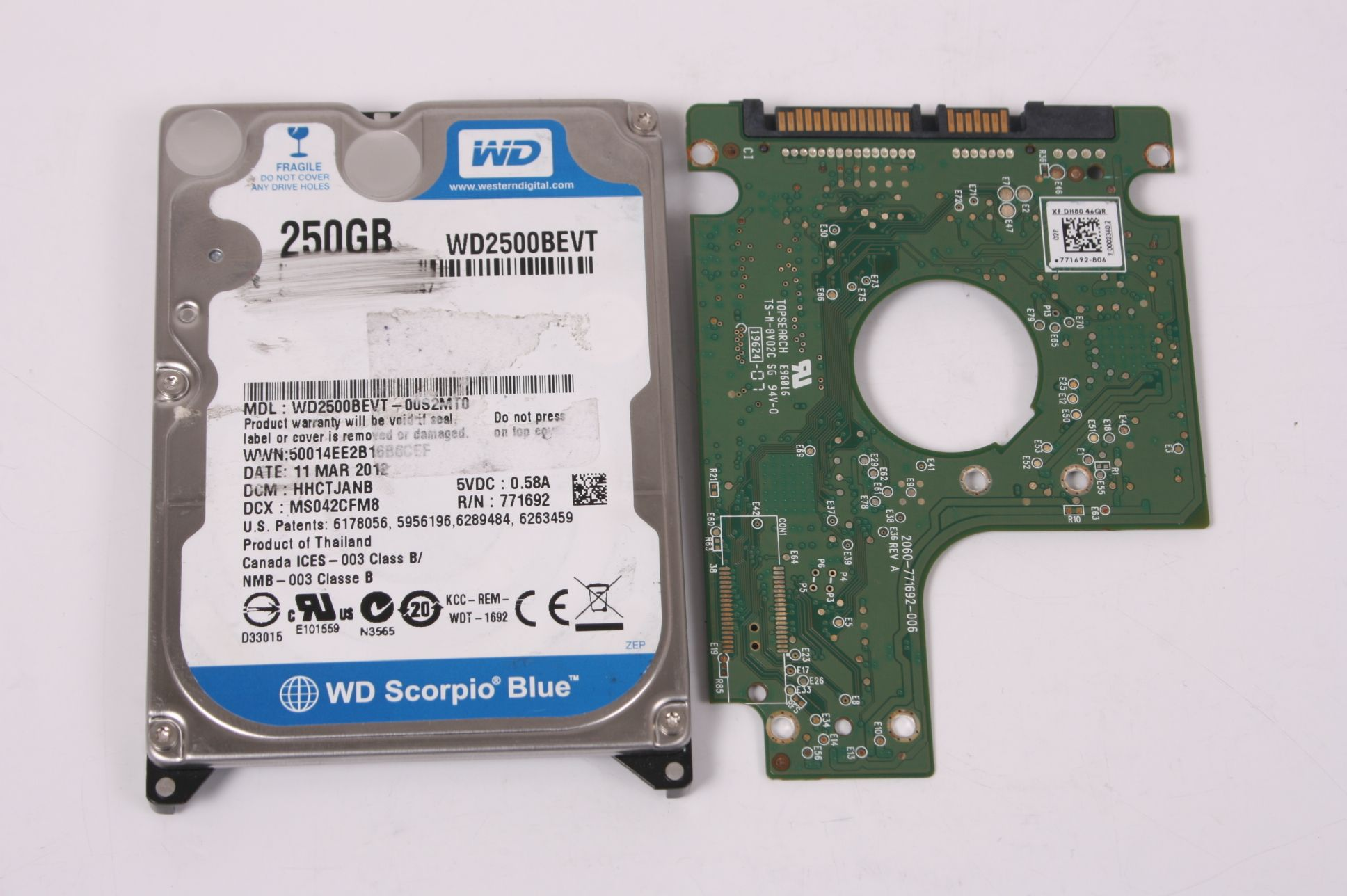 WD WD2500BEVT-00S2MT0 250GB SATA 2,5 HARD DRIVE / PCB (CIRCUIT BOARD) ONLY FOR DATA