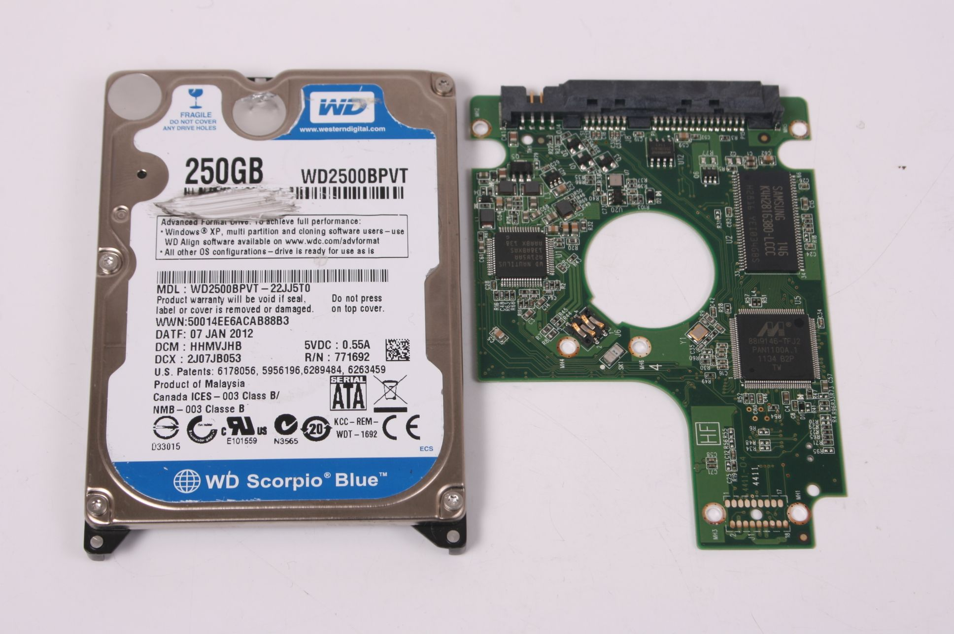 WD WD2500BPVT-22JJ5T0 250GB SATA 2,5 HARD DRIVE / PCB (CIRCUIT BOARD) ONLY FOR DATA