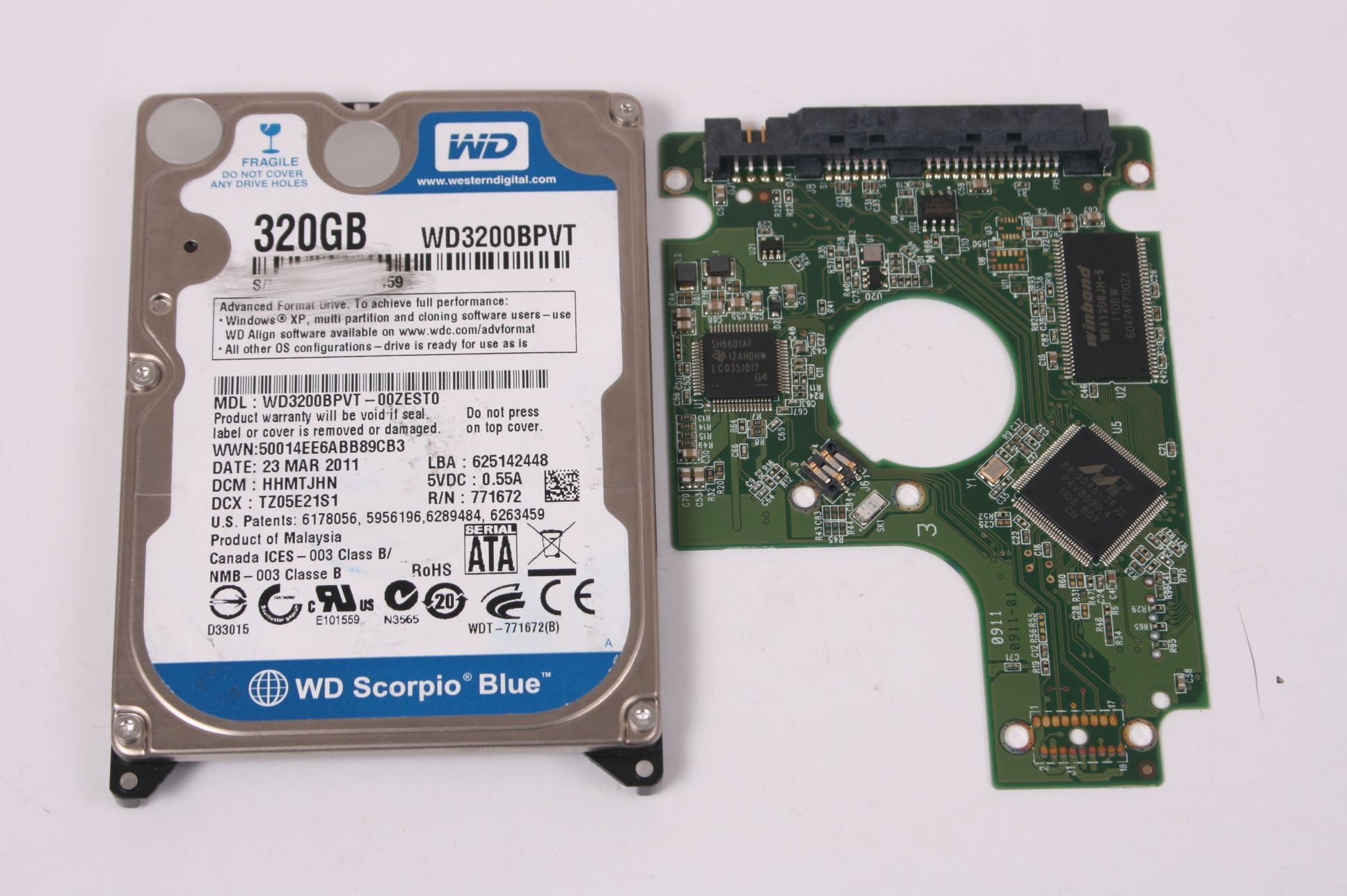 WD WD3200BPVT-00ZEST0 320GB SATA 2,5 HARD DRIVE / PCB (CIRCUIT BOARD) ONLY FOR DATA