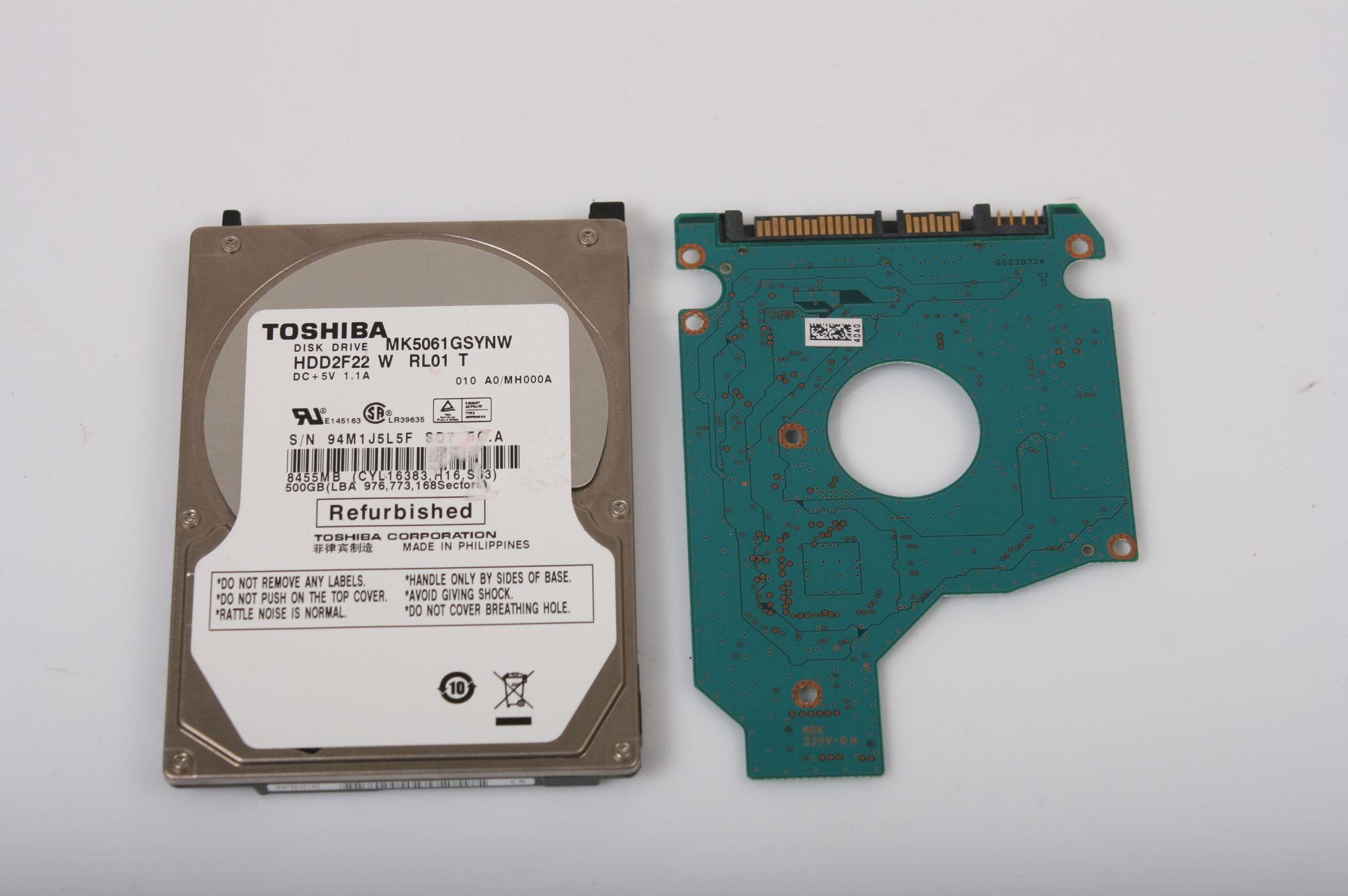 TOSHIBA MK5061GSYNW 500GB 2.5 SATA HARD DRIVE / PCB (CIRCUIT BOARD) ONLY FOR DATA