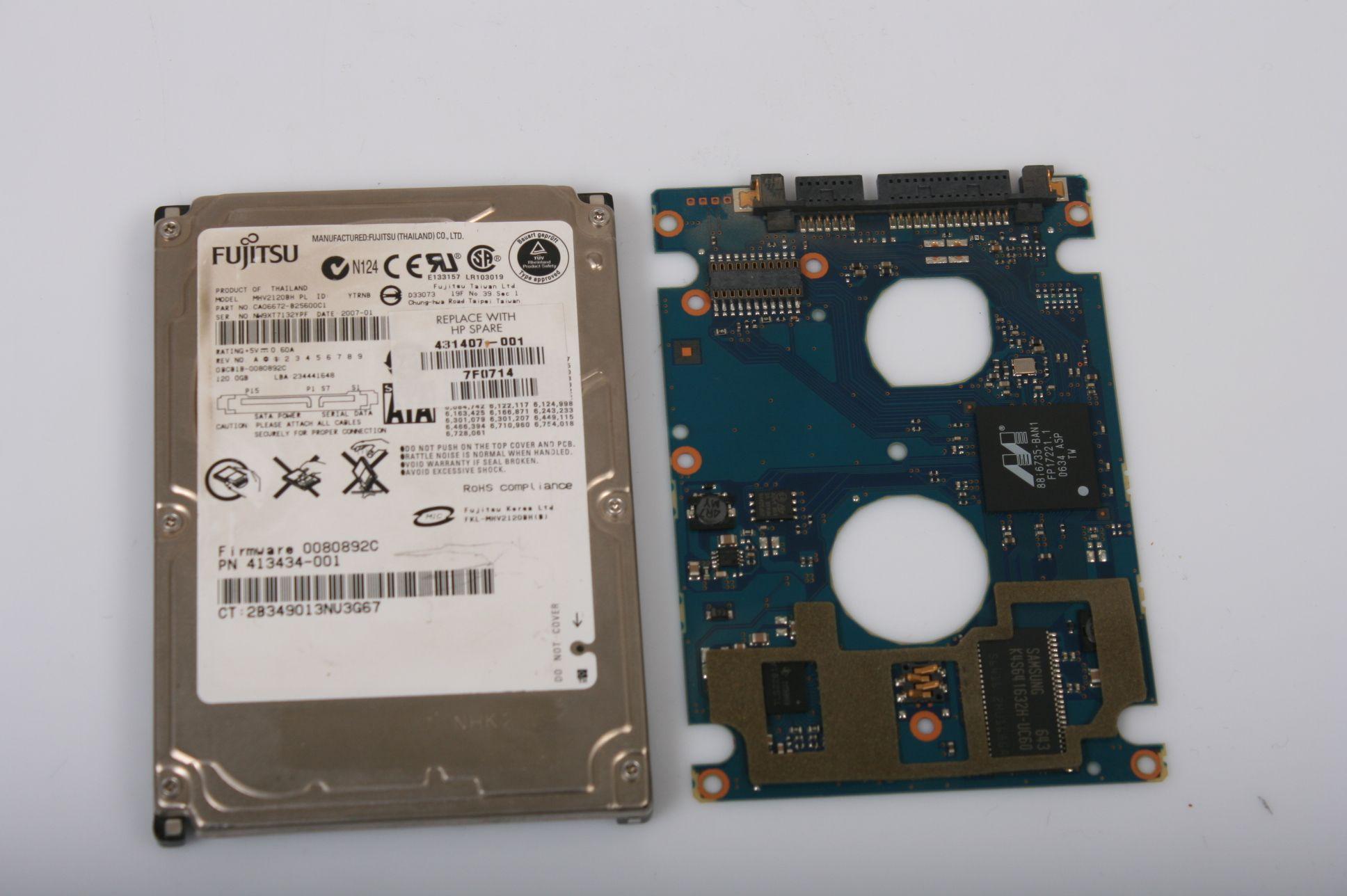 FUJITSU MHV2120BH 120GB 2.5 SATA HARD DRIVE / PCB (CIRCUIT BOARD) ONLY FOR DA