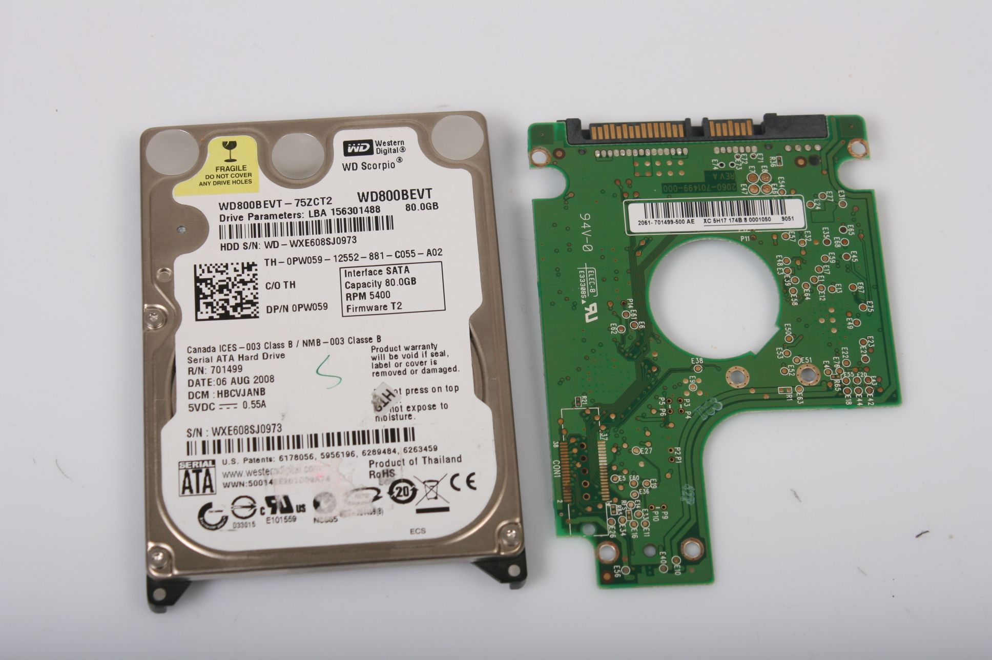 WD WD8000BEVT-75ZCT2 80GB 2,5 SATA HARD DRIVE / PCB (CIRCUIT BOARD) ONLY FOR DATA