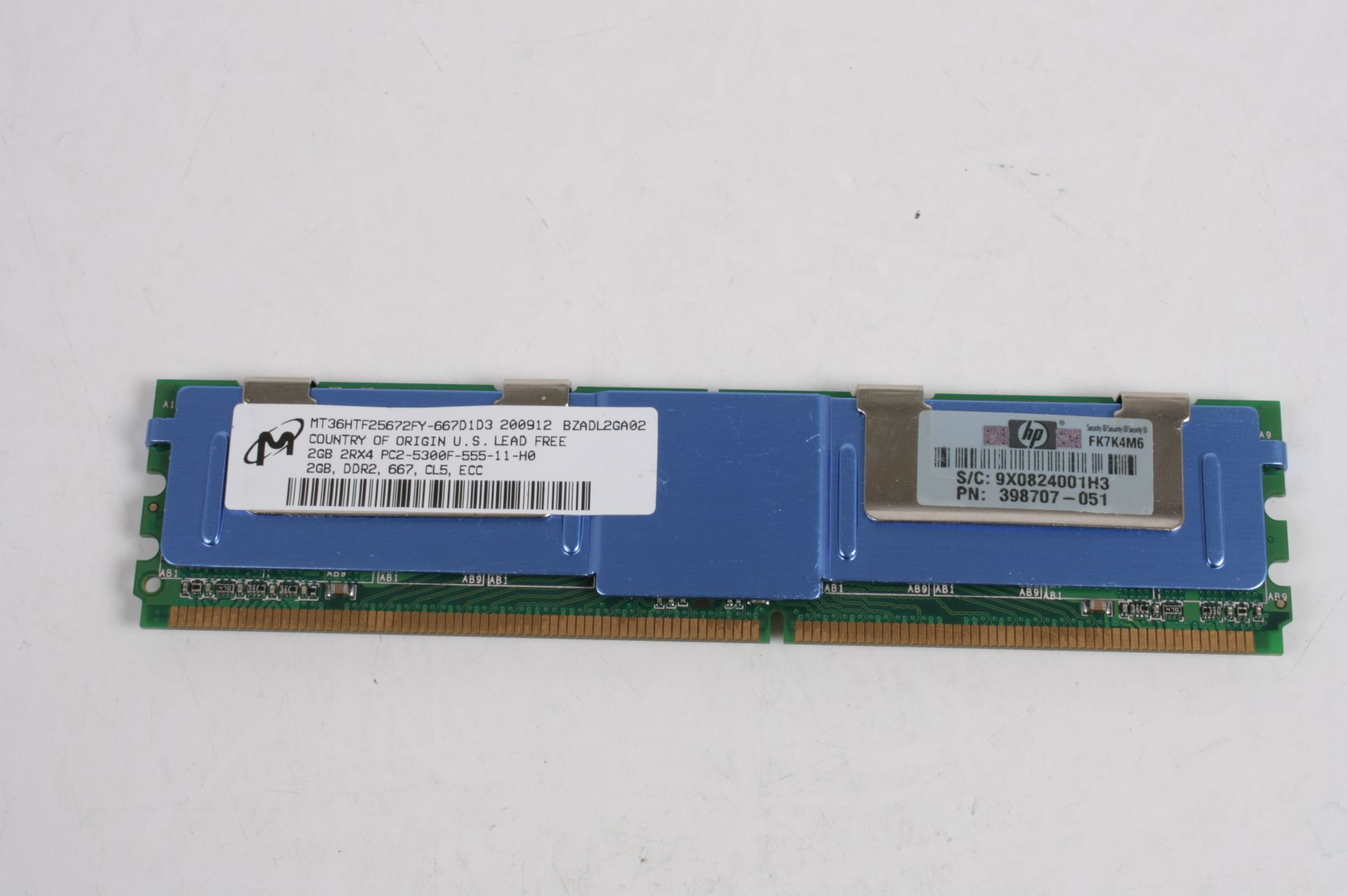 1X 2GB 2RX4 PC2-5300F-555-11-H0 ECC SERVER HP 398707-051 MEMORY  LOT
