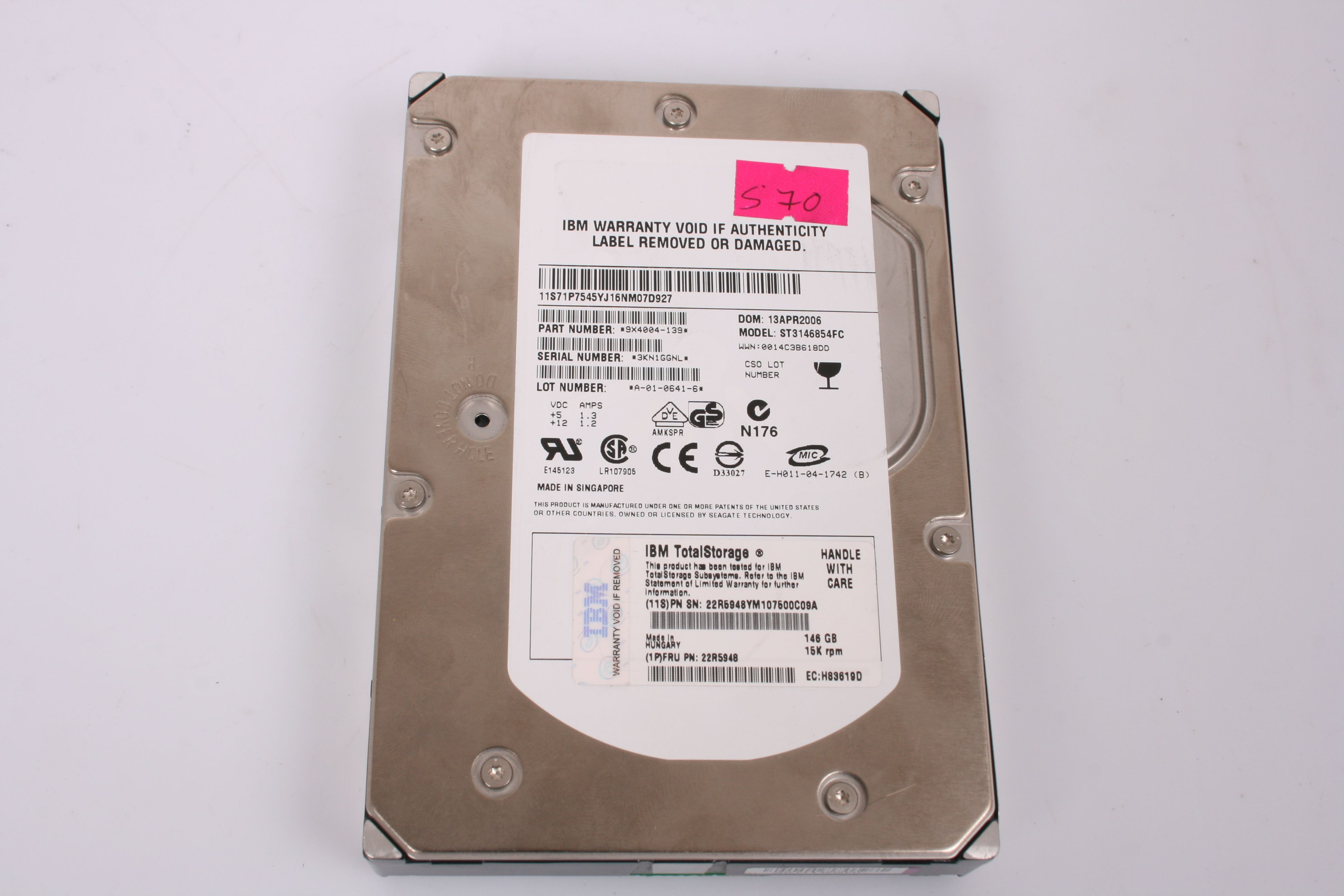 IBM 146GB 15k Rpm Channel Hard Drive 22R5948
