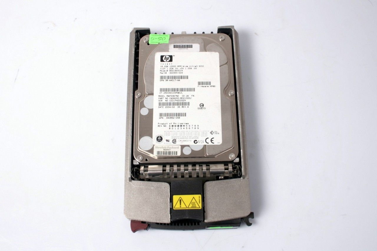 HP 18.2GB 10000 RPM Hard Drive & Caddy 340852-058 300955-004
