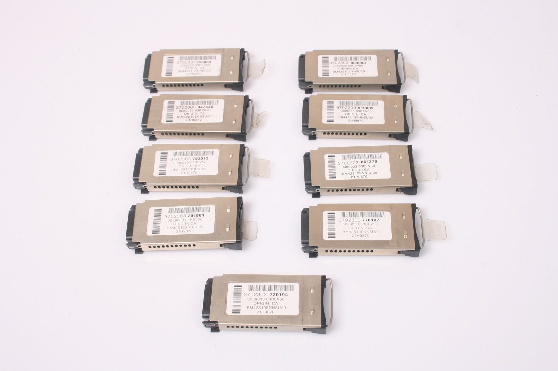 LOT OF 9 IBM Shortwave Optical Fiber Channel FC Converter Module Adapter 21H9870 3702303